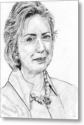 Hillary Clinton Pencil Portrait Metal Print by Rom Galicia