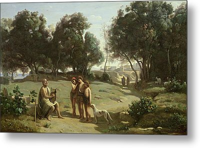 Homer And The Shepherds In A Landscape Metal Print by Jean Baptiste Camille Corot