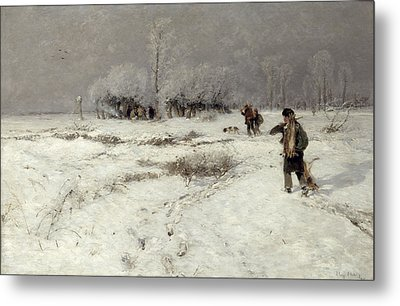 Hunting In The Snow Metal Print by Hugo Muhlig