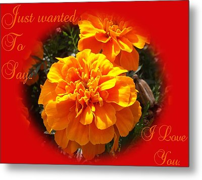 I Love You In Red And Orange Metal Print by Dawn Hay