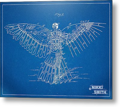 Icarus Human Flight Patent Artwork Metal Print by Nikki Marie Smith