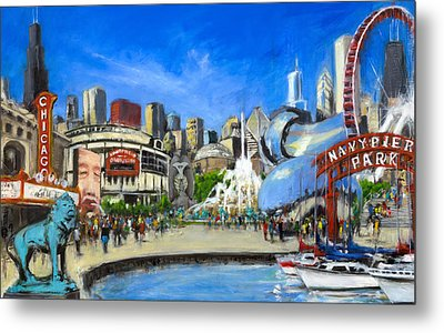 Impressions Of Chicago Metal Print by Robert Reeves