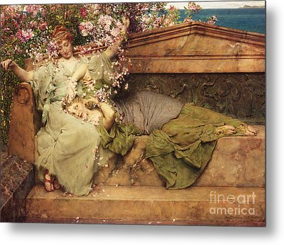 In A Rose Garden Metal Print by Sir Lawrence Alma-Tadema