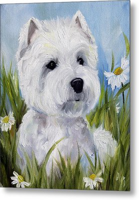 In The Daisies Metal Print by Mary Sparrow