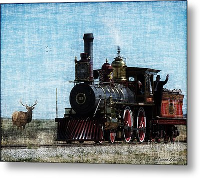 Iron Horse Invades The Plains Metal Print by Lianne Schneider