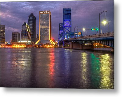 Jacksonville At Dusk Metal Print by Debra and Dave Vanderlaan