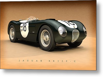 Jaguar Xk120-c Metal Print by Pete Chadwell