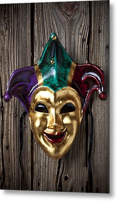 Jester Mask Hanging On Wooden Wall Metal Print by Garry Gay