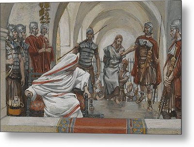 Jesus Led From Herod To Pilate Metal Print by Tissot
