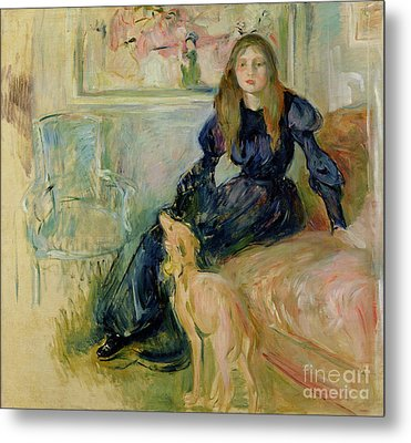Julie Manet And Her Greyhound Laerte Metal Print by Berthe Morisot