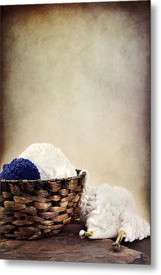 Knitting Supplies Metal Print by Stephanie Frey