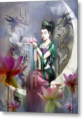 Kuan Yin Lotus Of Healing Metal Print by Stephen Lucas