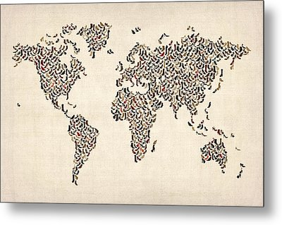 Ladies Shoes Map Of The World Map Metal Print by Michael Tompsett