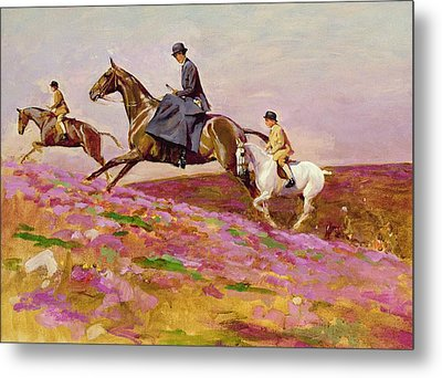 Lady Currie With Her Sons Bill And Hamish Hunting On Exmoor  Metal Print by Cecil Charles Windsor Aldin