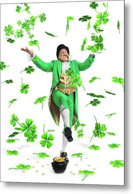 Leprechaun Tossing Shamrock Leaves Up In The Air Metal Print by Oleksiy Maksymenko
