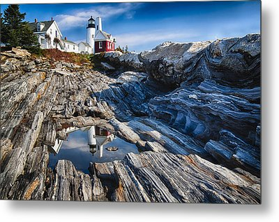 Lighthouse Reflections Metal Print by George Oze