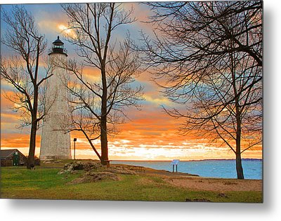 Lighthouse Sunset Metal Print by Cathy Leite Photography
