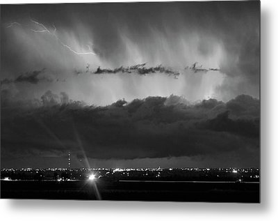 Lightning Cloud Burst Black And White Metal Print by James BO  Insogna