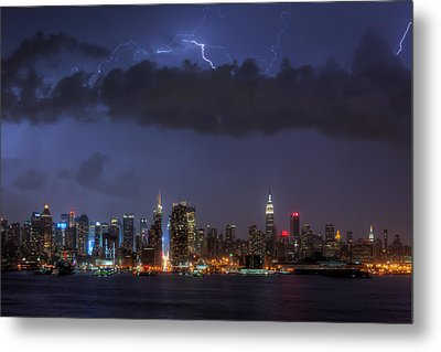 Lightning Over New York City I Metal Print by Clarence Holmes