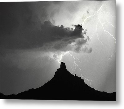 Lightning Striking Pinnacle Peak Arizona Metal Print by James BO  Insogna