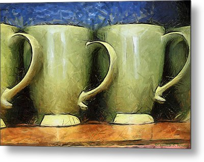 Lime Green Cups Metal Print by Paulette B Wright