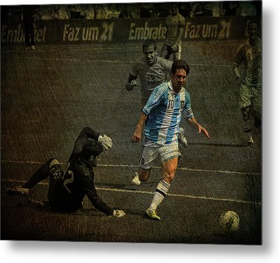 Lionel Messi Breaking Raphael Cabrals Ankles  Metal Print by Lee Dos Santos