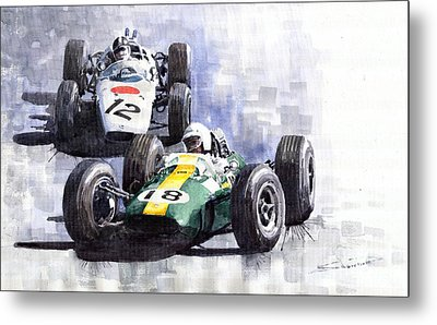 Lotus Vs Honda Mexican Gp 1965 Metal Print by Yuriy  Shevchuk
