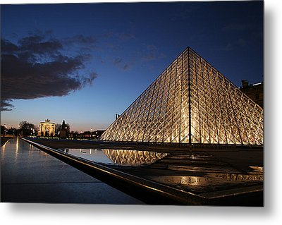 Louvre Puddle Reflection Metal Print by Joshua Francia