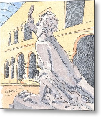 Louvre Sculpture Hall Metal Print by E Gibbons