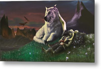 Luthien Tends Beren Metal Print by Rick Ritchie