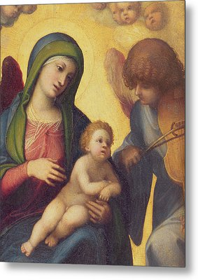 Madonna And Child With Angels Metal Print by Correggio
