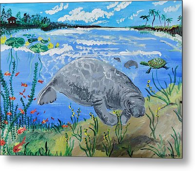 manatee in the Lagoon Metal Print by Renate Pampel