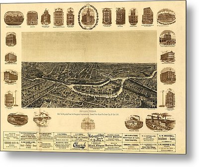 Map Of Dallas 1892 Metal Print by Mountain Dreams