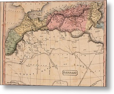 Map Of The Barbary States Of North Metal Print by Everett
