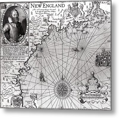Map Of The Coast Of New England Metal Print by Simon de Passe