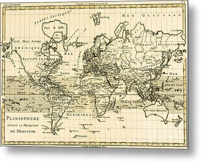 Map Of The World Using The Mercator Projection Metal Print by Guillaume Raynal