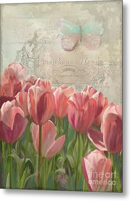 Marche Aux Fleurs 3 - Butterfly N Tulips Metal Print by Audrey Jeanne Roberts