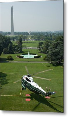 Marine One Lifts Off From The South Metal Print by Everett
