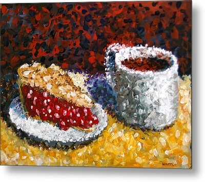 Mark Webster - Impressionist Cherry Pie With Coffee Acrylic Still Life Painting Metal Print by Mark Webster