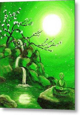 Meditating While Cherry Blossoms Fall In Green Metal Print by Laura Iverson