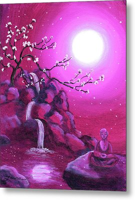 Meditating While Cherry Blossoms Fall Metal Print by Laura Iverson