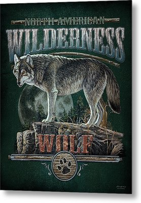 Midnight Wolf Sign Metal Print by JQ Licensing