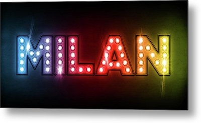 Milan In Lights Metal Print by Michael Tompsett