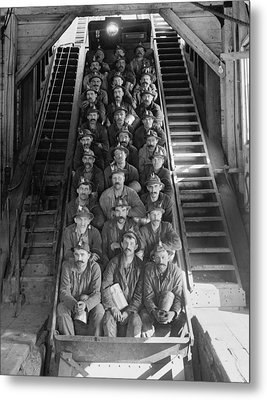 Miners In An Open Tram At The Calumet Metal Print by Everett