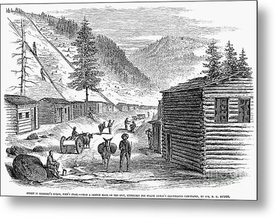 Mining Camp, 1860 Metal Print by Granger