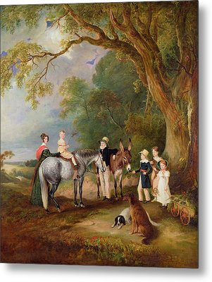 Miss Catherine Herrick With Her Nieces And Nephews Metal Print by John E Ferneley