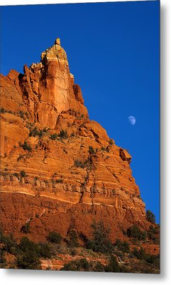Moonrise Over Red Rock Metal Print by Mike  Dawson