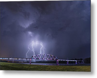 Muscatine Bridge Lightning Metal Print by Paul Brooks