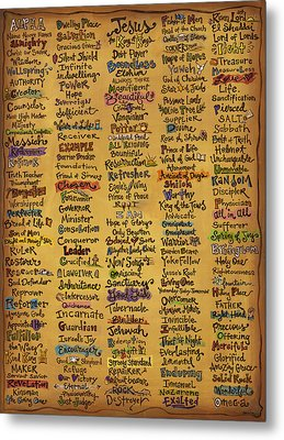 Names Of God - Inspirational Scripture Painting Metal Print by Annie Laurie