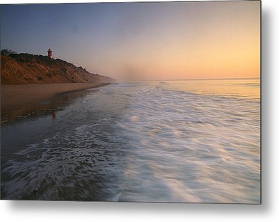 Nauset Light On The Shoreline Of Nauset Metal Print by Michael Melford